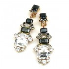 Xanthe Earrings with Clips ~ Crystal Smoke Black