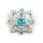 Star Rhinestone Button ~ Crystal Aqua