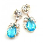 Fountain Earrings for Pierced Ears ~ Clear with Aqua