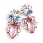 Floralie Earrings Pierced ~ Pink with Blue and Clear
