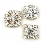 3 pc. Rhinestone Buttons Collection ~ Clear Crystal