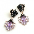 Aztec Sun Earrings Pierced ~ Violet Black