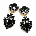 Aztec Sun Earrings Clips ~ Black