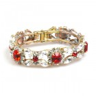 Harmony Clamper Bracelet ~ Clear Crystal with Red