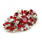 Empress Barrette Hairclasp ~ Ruby Red with Clear Crystal