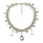 Raindrops Necklace ~ White Opaque Crystal
