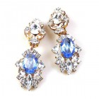Crystal Gate Clips-on Earrings ~ Silver Sapphire