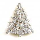 Navette Xmas Tree Brooch ~ Clear Crystal