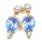 Taj Mahal Earrings Clips ~ Clear with Silver Sapphire
