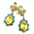 Heritage of History Earrings Clips ~ Yellow Multicolor