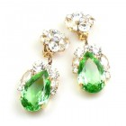 Fountain Clips-on Earrings ~ Clear Crystal Green