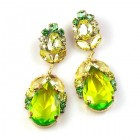 Iris Earrings Pierced ~ Melon Green Yellow