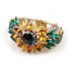 Sunflower Clamper Bracelet with Emerald Leafs